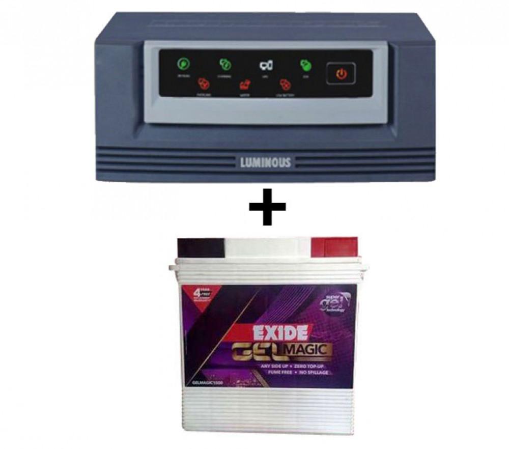 LUMINOUS ECO WATT 650OR665OR HOME UPS+Exide Gel Magic-1500 (150AH)