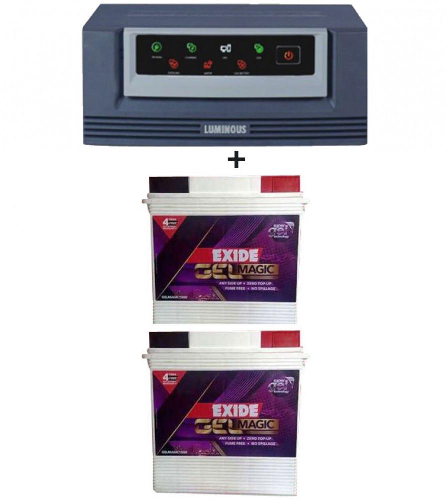 Luminous Eco Watt 1650 VA Home UPS+Exide Gel Magic-1500 (150AH)