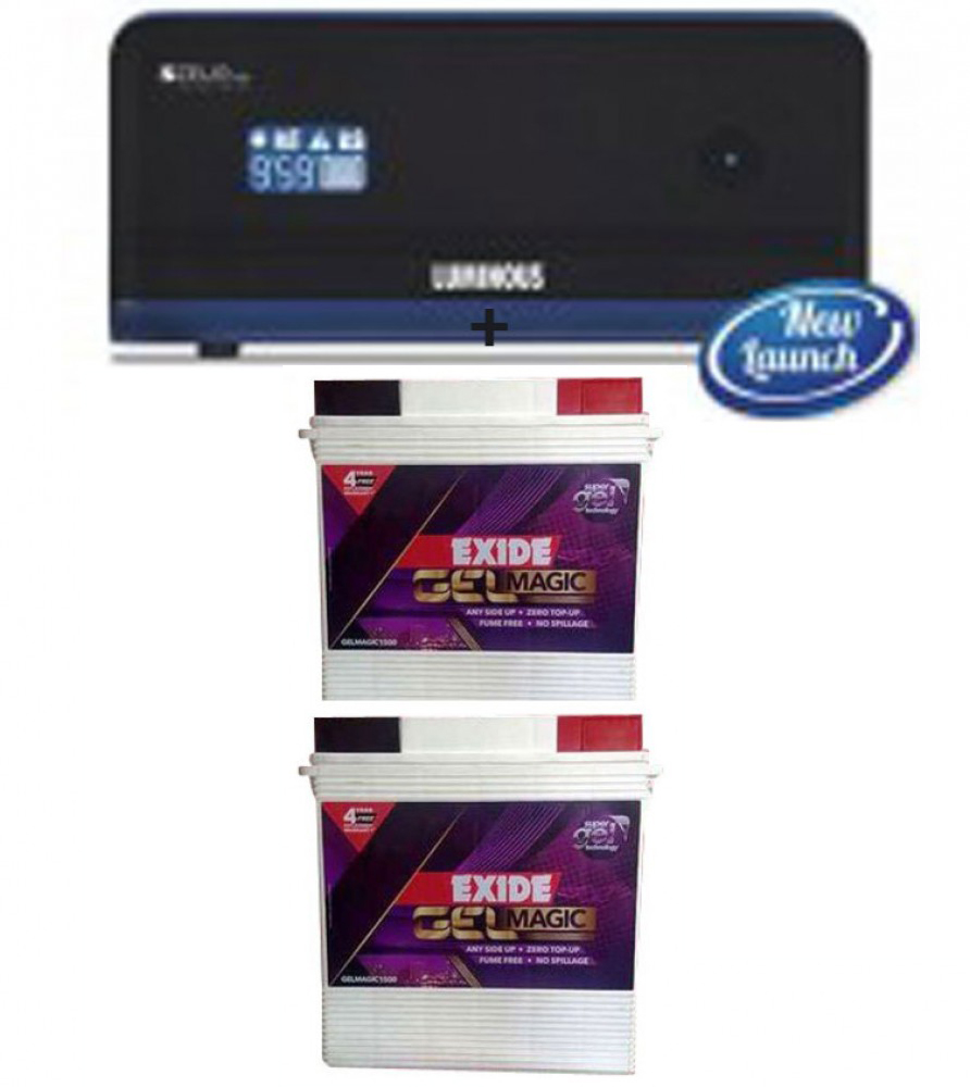 Luminous Zelio 1700 Sine Wave Home UPS+Exide Gel Magic-1500 (150AH)