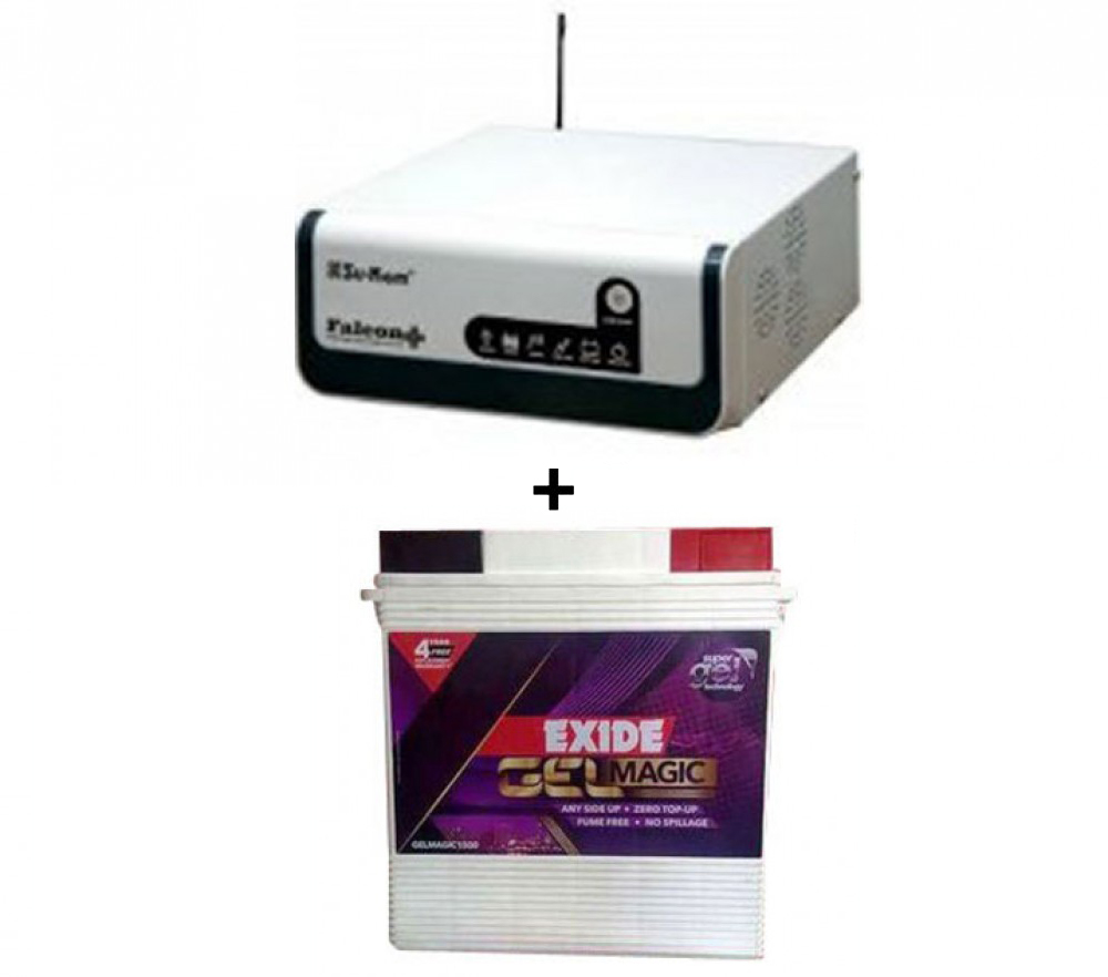 Su-Kam Falcon+900Va/12V+Exide Gel Magic-1500 150AH
