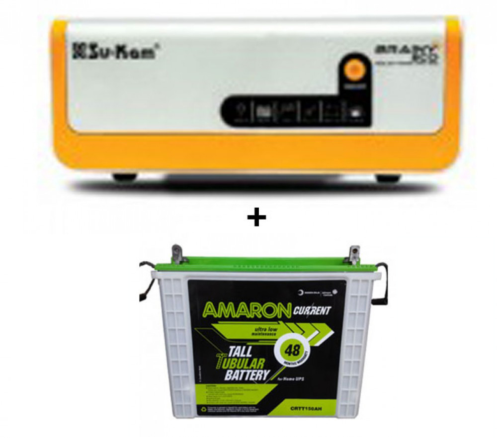Su-kam Brainy 1100 ECO Solar Home UPS+Amaron AAM-CR-CRTT200 (200Ah)