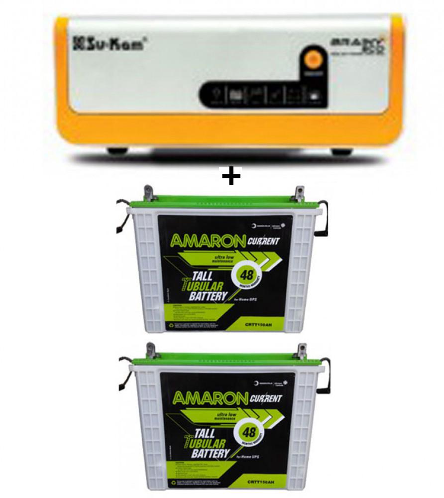 SU-KAM BRAINY ECO 1600 SOLAR HOME UPS+Amaron AAM-CR-CRTT200 (200Ah)