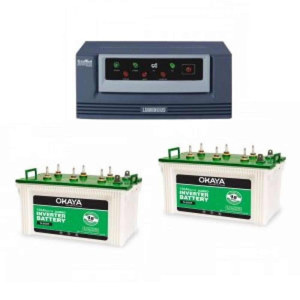 Luminous Eco Watt 1650 VA Home UPS + Okaya XL5500T (140Ah) x 2
