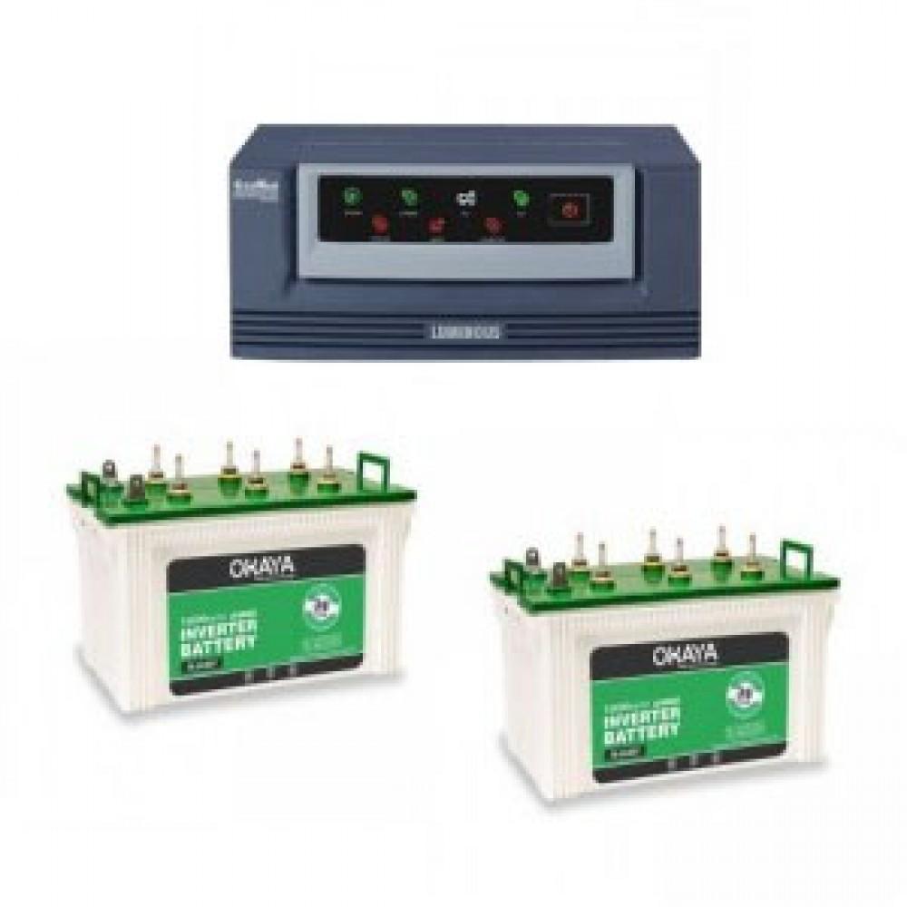 Luminous Eco Watt 1650 VA Home UPS +  Battery XL 6600T (160 AH) x 2